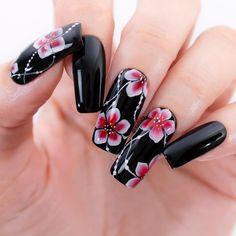FLORAL NAIL ART Floral art looks best when done only with a brush!Floral art looks best when done only with a brush! Nail Art Designs Videos, Nail Art Videos, Diy Nail Designs, Fancy Nails, Cute Nails, Pretty Nails, Long Nail Art, Long Nails, Purple Nails