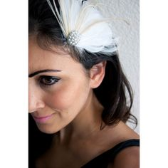 White and Champagne Feather Clip Bridal Feather Clip w/pearls ($36) ❤ liked on Polyvore featuring accessories, hair accessories, barrettes & clips, dark olive, bridal hair clips, feather headband, hair fascinators, pearl bridal headband and pearl bridal hair accessories