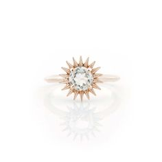 White Topaz sunburst ring, shown in rose gold, 14k gold, modern unique edgy style ring, right hand ring, cocktail ring, statement ring by ParkFordJewelry on Etsy