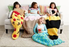Yarnspirations has completely outdone themselves with their latest lookbook! The Slumber Party Snuggle Sacks are cute, cuddly, and oh-so-clever! One for every personality! Made with Bernat Blanket Yarn which is super soft and bulky which means these sacks work up quicker than you might think These are going to make the perfect Christmas and Birthday …