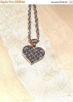 SALE 20% OFF Patterned Heart Necklace Handmade Jewelry Diamond & Spiral Design Etched for Light Reflection