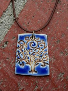 Tree of Life on Blue Porcelain Pendant