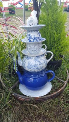 Garden Art, Teapot, Glass Art, Garden Totem, Glass Stack, Whimsical,Home Decor, Yard Decor