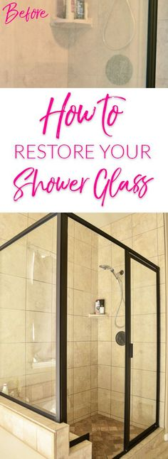 Glass Shower Doors Dirty? See How We Cleaned Ours and Made them Clear Again! Goodbye Hard Water Stains! #cleaningtips #bathroom #housekeeping #clean