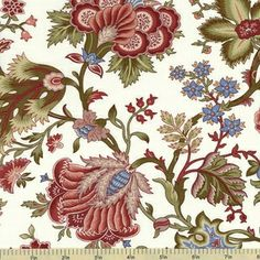 Ruby Blue Jacobean Floral Cotton Fabric...