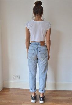 Take a look at the best what to wear with vintage high waisted jeans in the photos below and get ideas for your outfits! Vintage High Waist Stone Washed Levi's 512 Jeans – Medium Blue… CAD) ❤… Continue Reading → Mode Outfits, Jean Outfits, Casual Outfits, Dress Casual, Outfit Jeans, Mom Jeans Outfit Summer, Jeans And Sneakers Outfit, Blue Mom Jeans, Summer Outfits