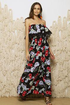 Off Shoulder Floral Maxi Φόρεμα