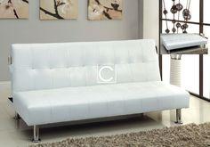 Modern Bulle White Leatherette Adjustable Futon Sofa Bed + Side Pockets