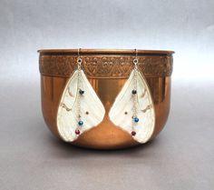 Real Butterfly  Wings, White Morpho Earrings.  Laminated White Morpho Earrings and Beads