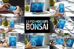 """Premium photorealistic 13 PSD Mockup Bundle of the iPhone MacBook Pro, iPad and credit card named """"Bonsai"""". Business Card Mock Up, Business Brochure, Creative Sketches, Creative Design, Web Mockup, Mockup Templates, Beauty Packaging, Pencil Illustration, Paint Markers"""
