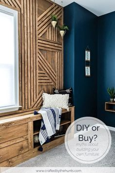 3 Myths About Building Your Own Furniture vs. Buying Wood Feature Wall, built-in bench, and dark blue bedroom wall 3 Myths About Building Your Own Furniture vs. Buying Wood Feature Wall, built-in bench, and dark blue bedroom wall Dark Blue Bedroom Walls, Dark Accent Walls, Dark Blue Walls, Blue Bedroom Decor, Bedroom Wall Colors, Accent Wall Bedroom, Blue Feature Wall Bedroom, Wood Feature Walls, Dark Blue Feature Wall