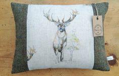 Handmade Stag Cushion Clarke & Clarke linen by MabelandMeEtsyShop