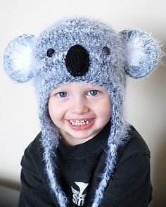 Koala Earflap Hat Crochet Pattern (Permission to sell all finished products). $4.99, via Etsy.