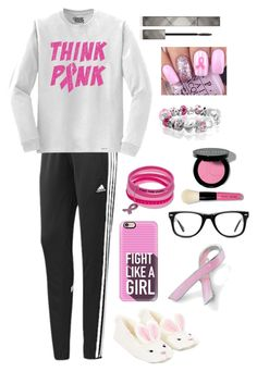 """Breast Cancer Awareness!!!!"" by hc-sorme ❤ liked on Polyvore featuring adidas, Casetify, Accessorize, Muse, Bobbi Brown Cosmetics, Bling Jewelry and Burberry"