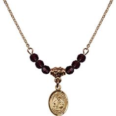 18-Inch Hamilton Gold Plated Necklace with 4mm Purple February Birth Month Stone Beads and Saint Albert the Great Charm. 18-Inch Hamilton Gold Plated Necklace with 4mm Amethyst Birthstone Beads and Saint Albert the Great Charm. Purple represents Amethyst, the Birthstone for February. Hand-Made in Rhode Island. Lifetime guarantee against tarnish and damage. Hamilton gold is a special alloy designed to have a rich and deep gold color.