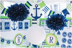 Preppy Nautical Classroom Theme blue and green