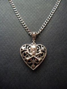 Filagree Heart & Skull necklace by BleedingHD on Etsy