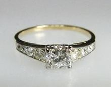 Fine Art Deco Jewelry 14K Gold Diamond Engagement Ring