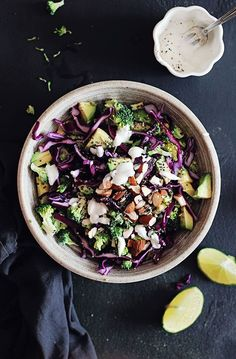 Detox Rainbow Salad ny detoxdiy #Salad #Broccoli #Cabbage #Avocado