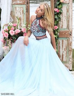 Utah Prom Dresses Ypsilon Dresses 2-piece Sherri Hill Blue Dress Halter top