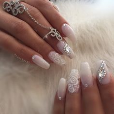 Bruid & bruiloft nagel ontwerp bruiloft nagels foto's – wedding-clothes-d…. Wedding Gel Nails, Wedding Nails For Bride, Wedding Nails Design, Bride Nails, Prom Nails, Long Nails, Jamberry Wedding, 3d Nails, Bling Wedding