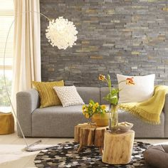small casual living room - yellow and grey Google Search