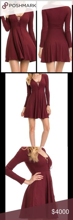 SALE!! BURGUNDY FIT & FLARE LACED & RIBBED DRESS Absolutely gorgeous Fit & Flare Dress in a rich Burgundy shade. It features a laced neckline & ribbed material. Great for Fall & Winter! Sizes S, M, L. Cotton/Spandex. No trades. Price is firm. SOUTHERN CHARM BOUTIQUE Dresses