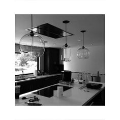 A final push to install all lighting and final details before the installations begin! #kmi #interior #interiordesign #glasspendants #modernlighting #modernkitchens by kristemichelini Great design ideas for a modern kitchen remodel.
