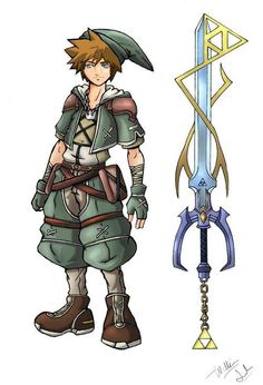Link, Kingdom Hearts style ... MEH they should have turned Roxas into Link!! They both are blond!!