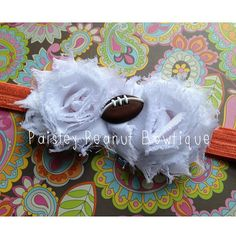 Texas Longhorns Football Shabby Headband. Made by Paisley Peanut Bowtique. Texas Longhorns Headband, TX Longhorns Girl, Horns Headband, Hook em, Horns Fan, Shabby Chiffon