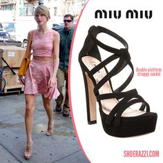 cb66a06d5972 Taylor Swift in Miu Miu Strappy Double Platform Sandals while she was  spotted out in New