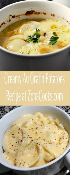 These Au Gratin Potatoes are deliciously creamy and cheesy. We really loved the added flavor of the onion baked inside. This recipe serves two people cooked in individual dishes for a romantic dinner, but could also be cooked in one dish if preferred. Plan ahead as it takes 1 ½ hours to bake, but is so worth it! #AuGratin #potatoes #SideDishes #RecipesForTwo #DinnerForTwo Side Dish Recipes, Side Dishes, Potatoes Au Gratin, Dinner For Two, Romantic Dinners, Meals For Two, Potato Recipes, Cheeseburger Chowder, Onion