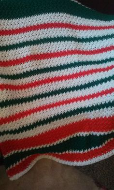 Christmas stripe afghan...double thick.