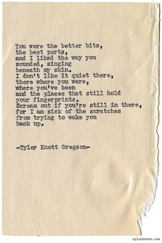 Typewriter Series #1122 by Tyler Knott Gregson*Chasers of the Light, is available through Amazon, Barnes and Noble, IndieBound , Books-A-Million , Paper Source or Anthropologie *