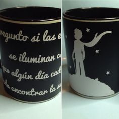 "Taza decorada con vinilo, tema ""El Principito"". Decorated mug"