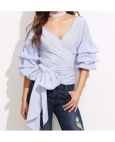 Jackie Exaggerated Sleeve Blouse With Bow Tie