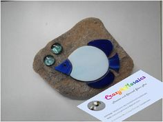 Paperweight stained glass mosaic blue fish with bubbles on