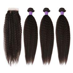 【Grade 6A】Indian Virgin Hair Kinky Straight Hair 3 Bundles With 1pcs Free Part Lace Closure Natural Black