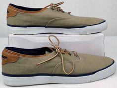 SEBAGO DOCK SIDES Tan Canvas and Suede Leather Slip Ons Loafers Mens 11.5 M #SebagoDockSides #LoafersSlipOns