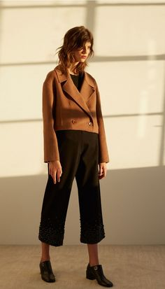 Reversible Double Faced Wool-Angora Cropped Jacket   Official Site