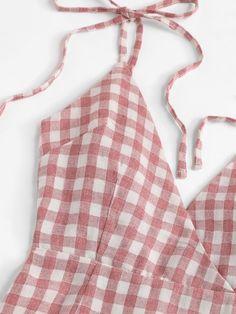 Knot Shoulder Ruffle Hem Checked Cami Dress [dress180622315] - €30.17 : cuteshopp.com Plaid Dress, Dress P, Plaid Fabric, Pink Fashion, Ruffles, Knots, Shoulder, Casual, Spaghetti Strap Dresses