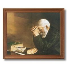 Daily Bread Old Man Praying At Dinner Table Grace Religious Home Decor Wall Picture Oak Framed Art Print