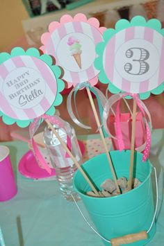 Ice Cream Birthday Centerpiece Sticks Sweet by sosweetpartyshop