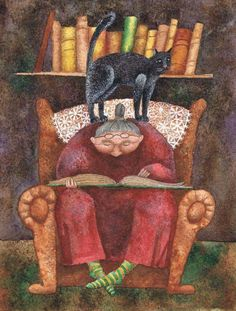 Cats in Art and Illustration: Artist, Zenina I Love Books, Good Books, My Books, Thomas Carlyle, Reading Art, Reading Books, Crazy Cats, Cat Lady, Book Lovers