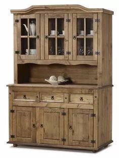 cristaleira rústica com oratório, 6 portas em madeira maciça