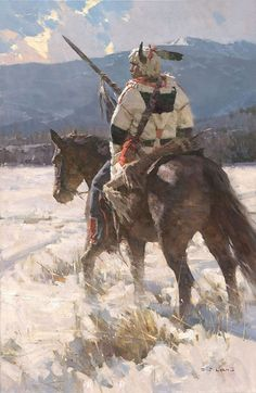 Camp Sentry by Z.S. Liang. Piegan (Blackfoot) war chief in Montana.