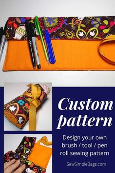 FREE sewing pattern and video tutorial for how to sew a brush roll. This handy tool caddy to sew is ideal to sew and use as a case to store crochet hooks, sewing supplies, craft supplies, pens, pencils, crayons, artist brushes, cosmetic brushes and lots more. The video tutorial shows you how to design your own custom sewing pattern so your tool caddy or brush roll sewing pattern with be perfect for you. Animal Sewing Patterns, Easy Sewing Patterns, Bag Patterns To Sew, Sewing Hacks, Sewing Tutorials, Sewing Tips, Sewing For Kids, Free Sewing, Teddy Bear Sewing Pattern