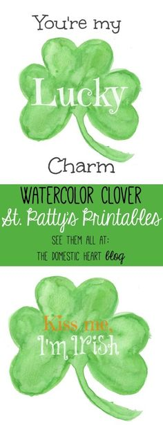Free watercolor clover printables available in 3 versions for all your St. Patrick's Day projects at Domestic Heart blog