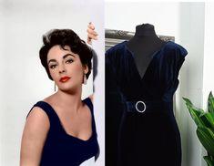 Old Hollywood Dress, Hollywood Glamour, Pin Up Dresses, Prom Dresses Blue, 1950s Fashion Dresses, Vintage Dresses, Grace Kelly Dresses, Navy Velvet Dress, Vintage Velvet
