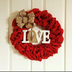 Valentine burlap wreath made by Audrey Rose